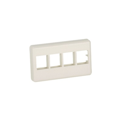 Placa de Pared Para Mueble Modular, Salida Para 4 Puertos Keystone, Color Blanco Mate
