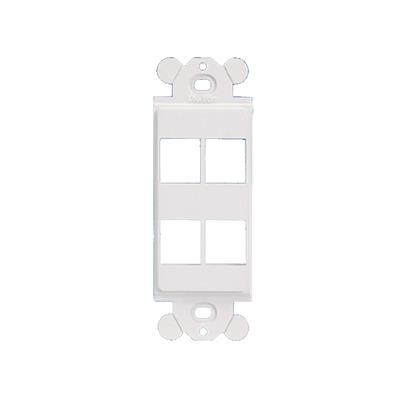 Marco de Módulo Dúplex, Para Placas Frontales Estándar GFCI, Acepta 4 Módulos Keystone, Color Blanco
