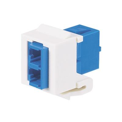 Módulo Acoplador LC Duplex, para Fibra óptica Monomodo OS1/OS2, Tipo Keystone, Color Blanco Mate
