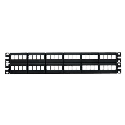 Panel de Parcheo Modular Keystone (Sin Conectores), de 48 Puertos, Identificación con Etiqueta Adhesiva, 2UR