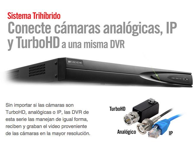 Sistema DVR de camaras de seguridad HDCVI Trihibrido en Monterrey